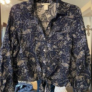 Blue paisley button up with front tie by H&M